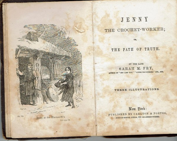 Title page and first engraving of <i>Jenny, the Crochet-Worker</i>