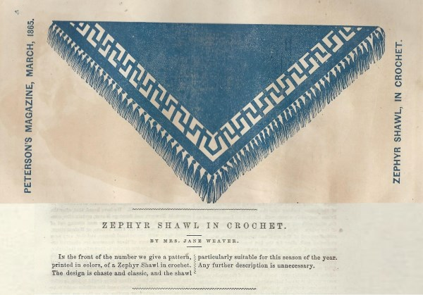 Peterson's March 1865 Zephyr (a type of wool) Shawl pattern